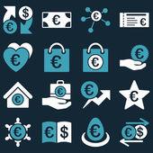 Ikony nástroje euro bankovní obchody a služby