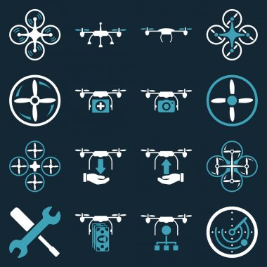 Flying drone flat bicolor icons