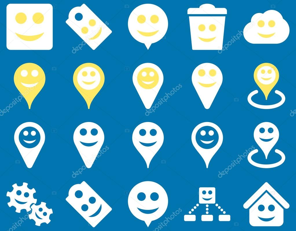 Tools, emotions, smiles, map markers icons