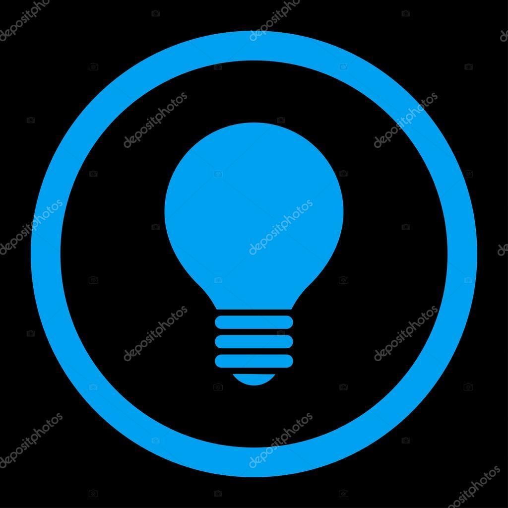 Icona Di Vettore Arrotondati Colore Lampadina Piatta Blu Elettrico
