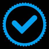 Ano, plochá modré barvy kulaté razítko ikony