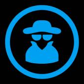 Spy flat blue color rounded vector icon
