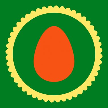 Egg flat orange and yellow colors round stamp icon