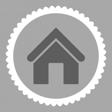 Home flat dark gray and white colors round stamp icon