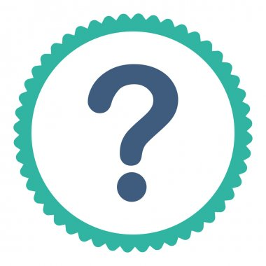 Question flat cobalt and cyan colors round stamp icon