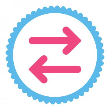 Flip Horizontal flat pink and blue colors round stamp icon