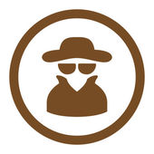 Spy flat brown color rounded vector icon