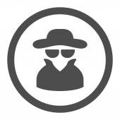 Spy flat gray color rounded vector icon