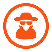 Spy flat orange color rounded vector icon