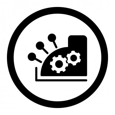 Cash register flat black color rounded vector icon