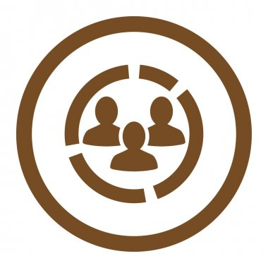 Demography diagram flat brown color rounded vector icon