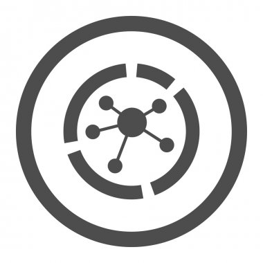 Connections diagram flat gray color rounded vector icon