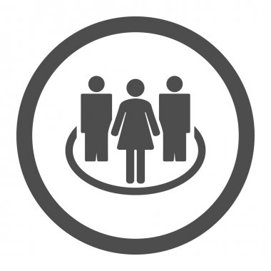 Society flat gray color rounded vector icon