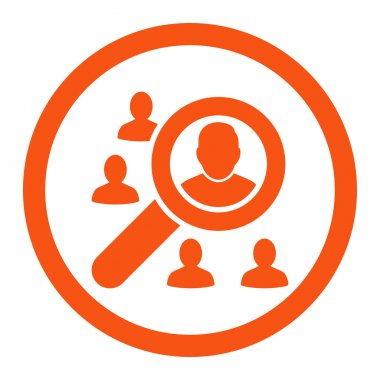 Marketing flat orange color rounded vector icon