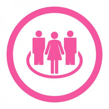 Society flat pink color rounded vector icon