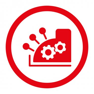 Cash register flat red color rounded vector icon