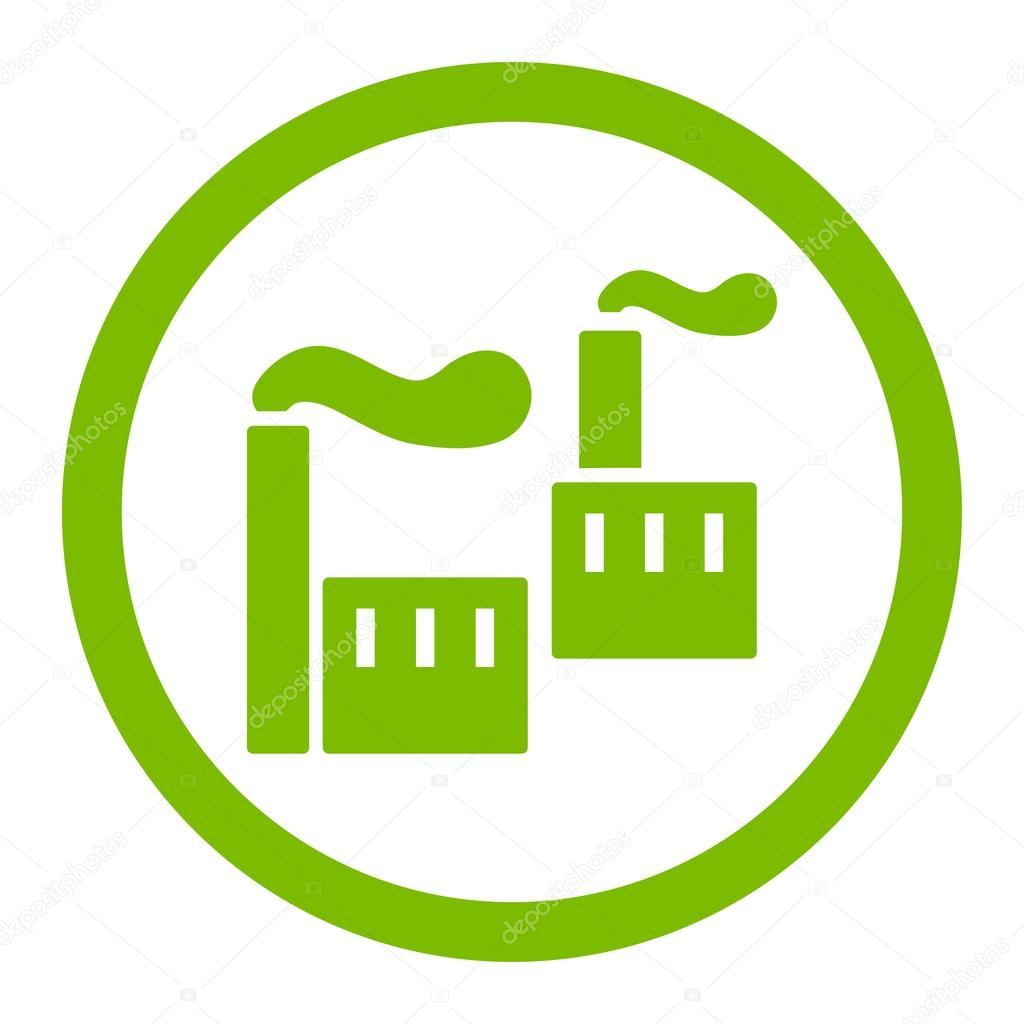 Industry flat eco green color rounded vector icon