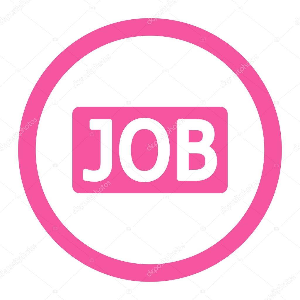 job flat pink color rounded vector icon stock vector