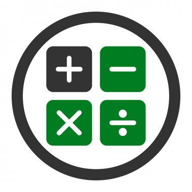 Calculator vector icon. This flat rounded symbol uses green and gray colors and isolated on a white background clip art vector