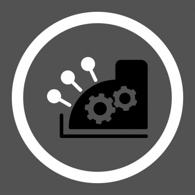 Cash register flat black and white colors rounded vector icon