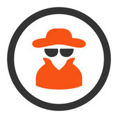 Spy flat orange and gray colors rounded vector icon