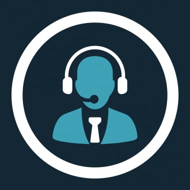 Call center flat blue and white colors rounded vector icon