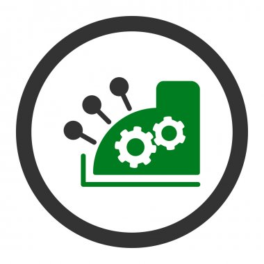 Cash register flat green and gray colors rounded vector icon