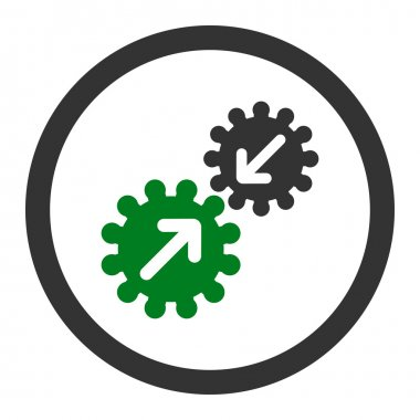 Integration flat green and gray colors rounded vector icon