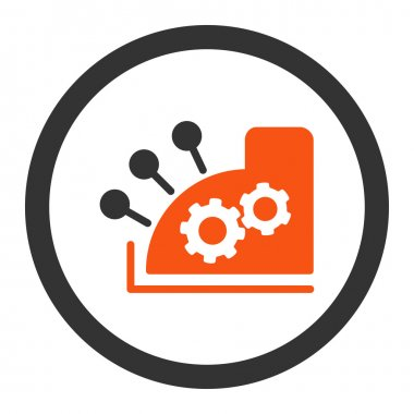 Cash register flat orange and gray colors rounded vector icon