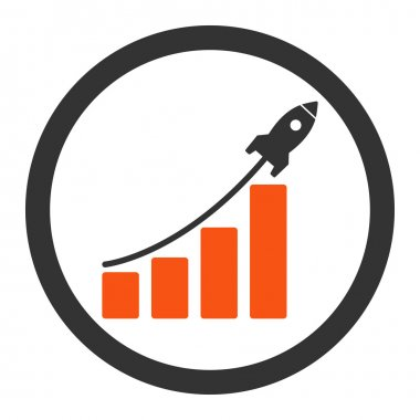 Startup sales flat orange and gray colors rounded vector icon