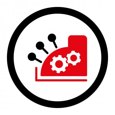 Cash register flat intensive red and black colors rounded vector icon
