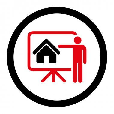 Realtor flat intensive red and black colors rounded vector icon