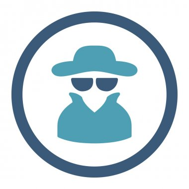 Spy flat cyan and blue colors rounded vector icon