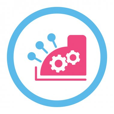 Cash register flat pink and blue colors rounded vector icon