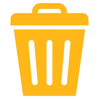 Trash Can flat yellow color icon