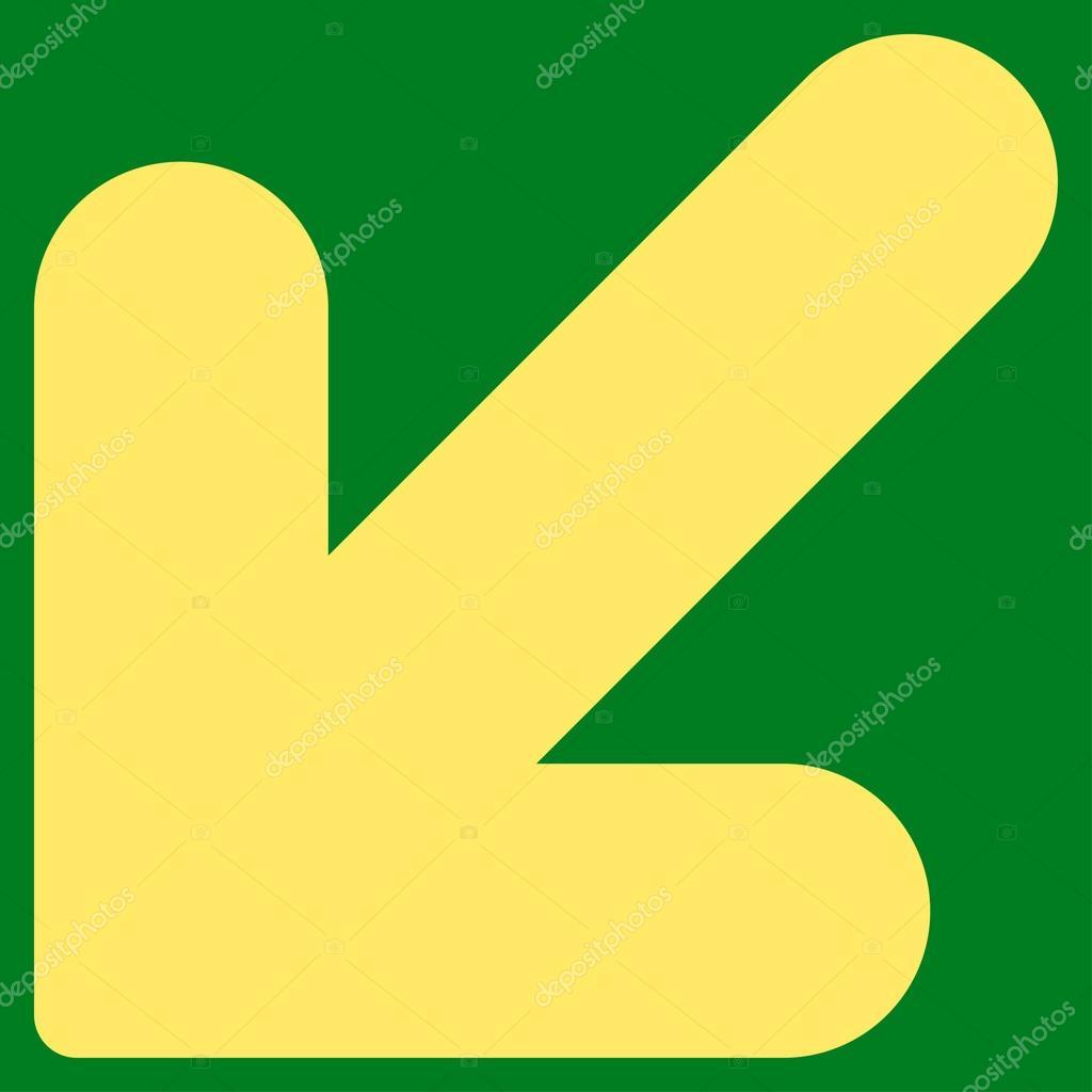 Arrow Down Left flat yellow color icon — Stock Vector © ahasoft ...