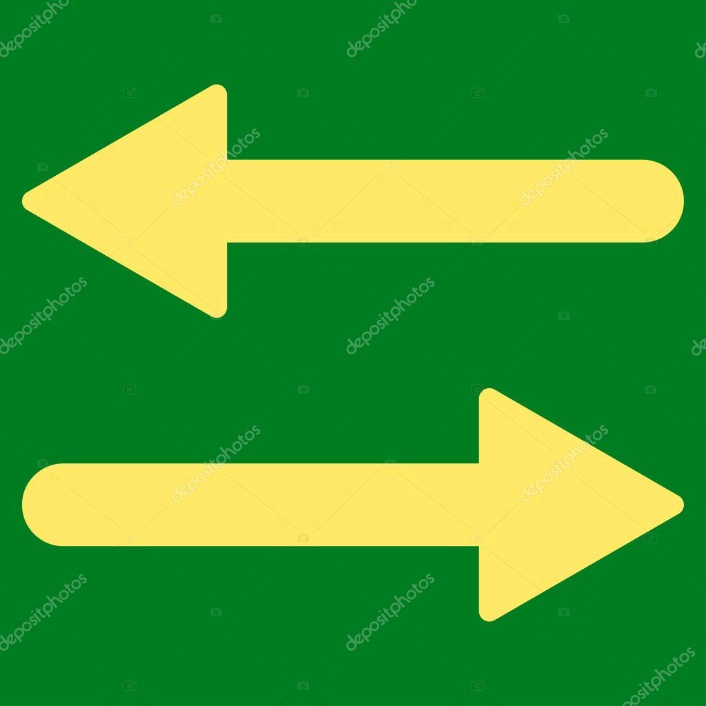 Arrows Exchange Horizontal flat yellow color icon — Stock Vector ...