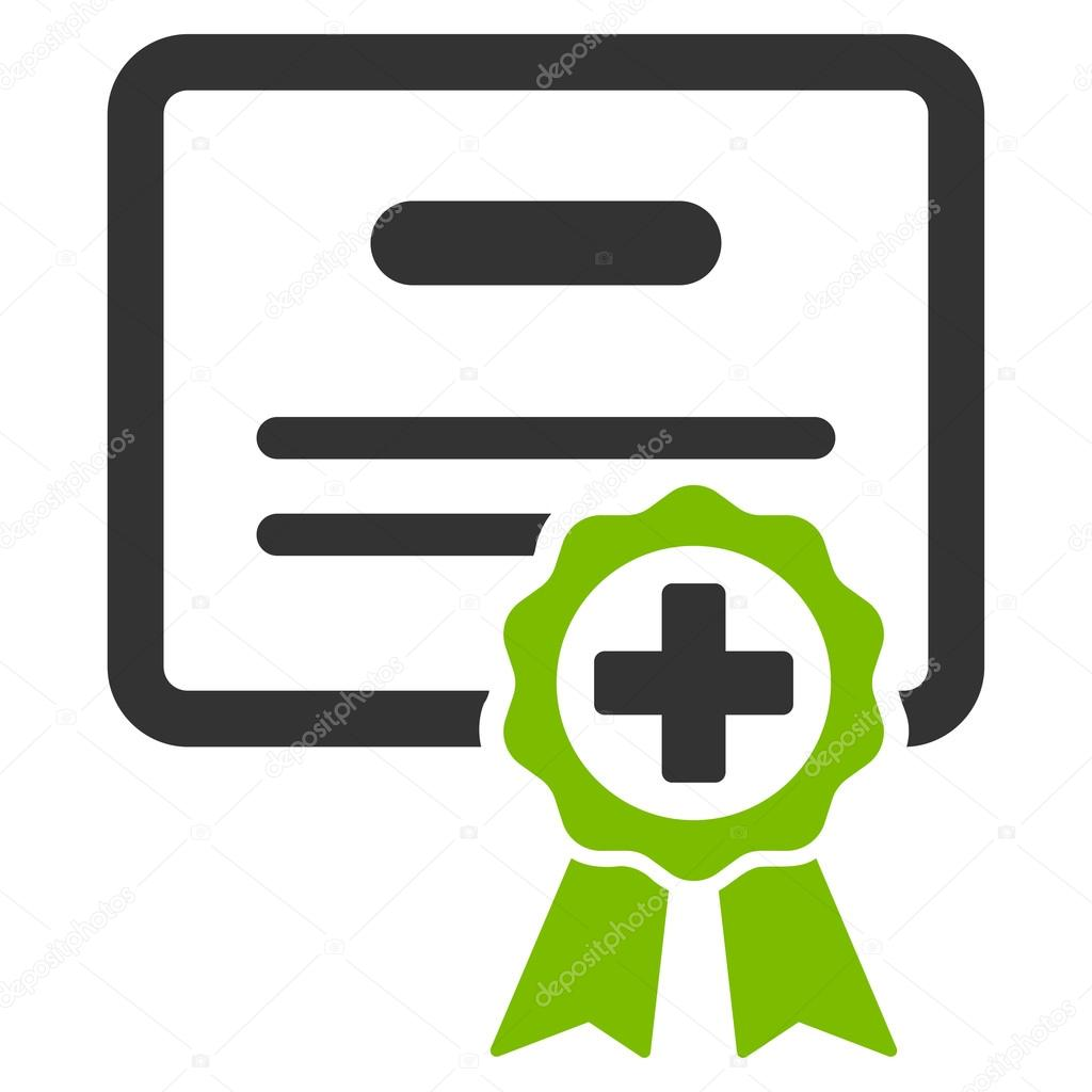 Medical certificate icon stock vector ahasoft 84873918 medical certificate vector icon style is bicolor flat symbol eco green and gray colors rounded angles white background vector by ahasoft buycottarizona
