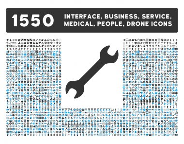Wrench Icon and More Interface, Business, Tools, People, Medical, Awards Flat Vector Icons