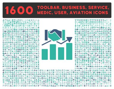 Acquisition Graph Icon with Large Pictogram Collection