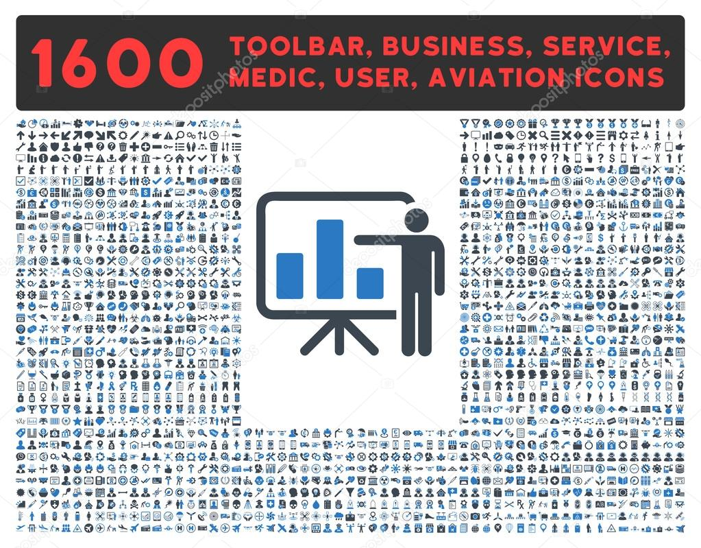 Presentation Icon with Large Pictogram Collection