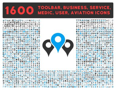 Locations Icon With Large Pictogram Collection
