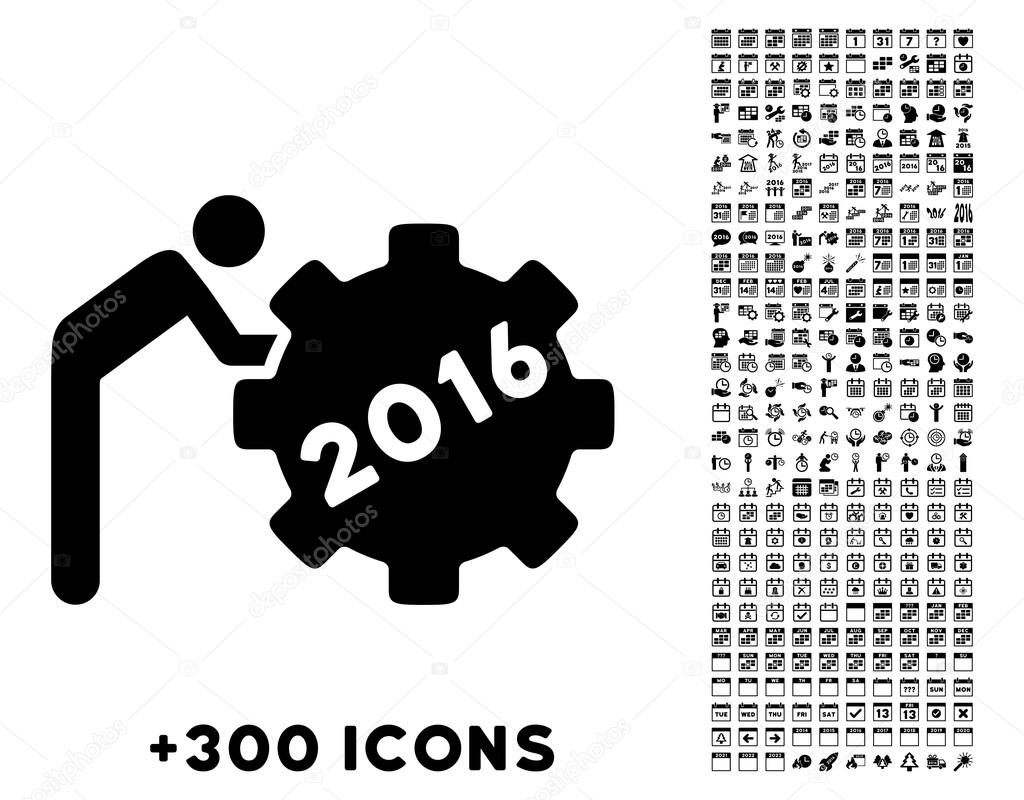 2016 working man icon stock vector ahasoft 90574898 2016 working man vector pictogram with additional 300 date and time management icons style is flat symbols black color rounded angles white background biocorpaavc Images