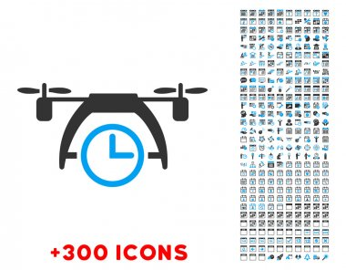 Drone Clock vector pictogram with additional 300 date and time management icons. Style is bicolor flat symbols, blue and gray colors, rounded angles, white background. clip art vector