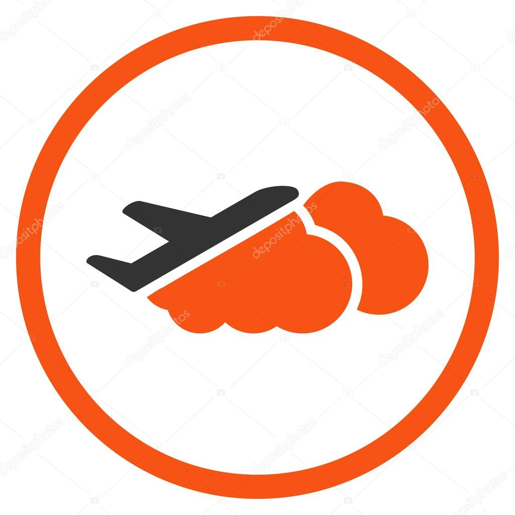 Airplane Over Clouds Circled Icon
