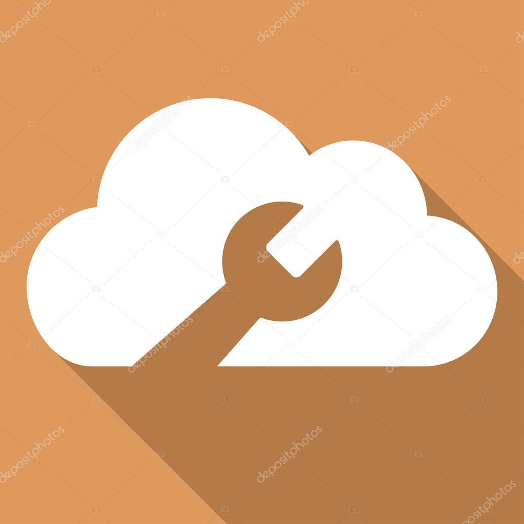 Cloud Tools Long Shadow Square Icon