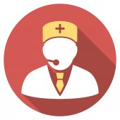 Medical Manager Flat Round Icon with Long Shadow