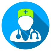Physician Flat Round Icon with Long Shadow