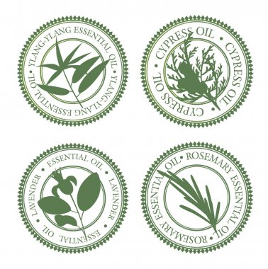 Set of green hollow essential oils labels