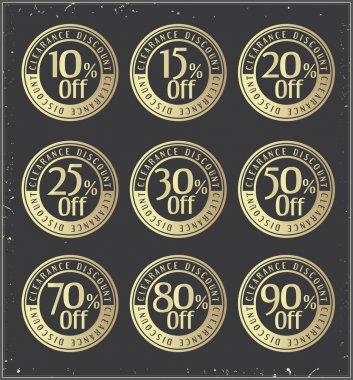 Set of golden  retro vector  discount badges.